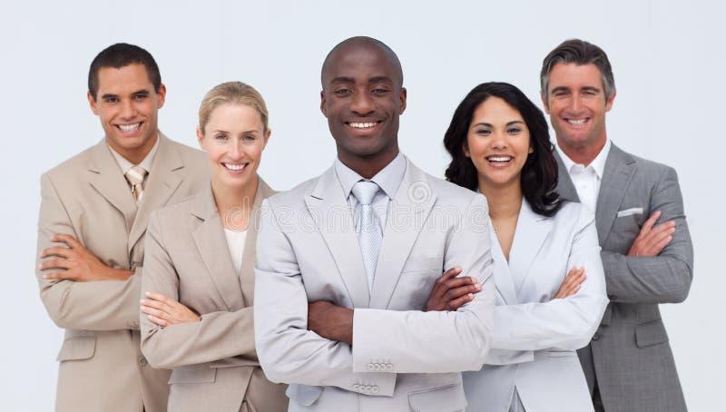 非洲生意人他导致的微笑的小组 免版税库存图片