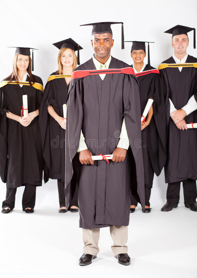 非洲男毕业生 免版税库存图片