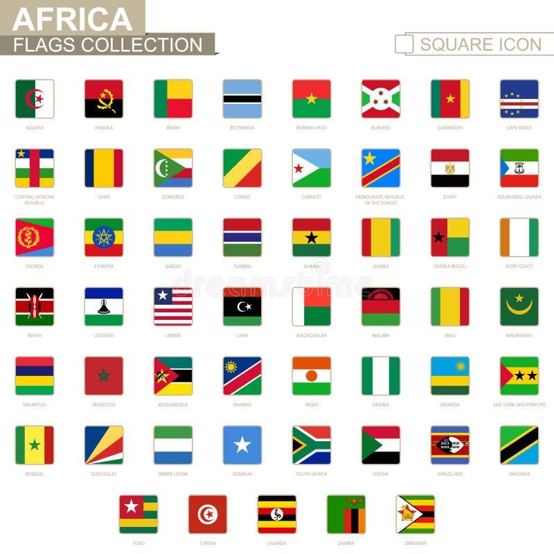 非洲的方形的旗子 从阿尔及利亚向津巴布韦 皇族释放例证