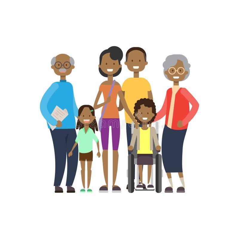 非洲祖父母做父母儿童女孩轮椅,多一代家庭,白色背景的全长具体化 向量例证