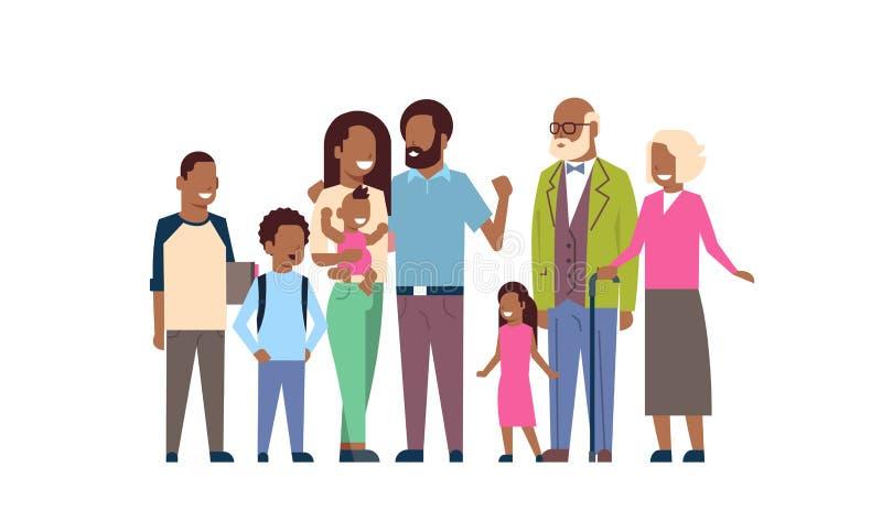 非洲祖父母做父母儿童孙,多一代家庭,白色背景的全长具体化 库存例证