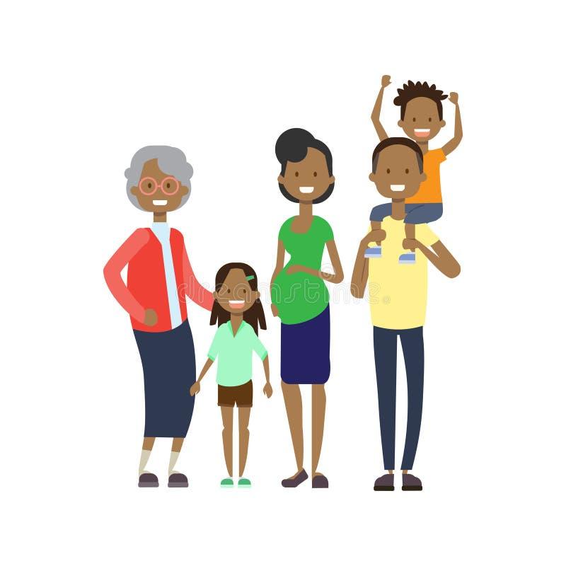 非洲祖父母做父母儿童孙,多一代家庭,白色背景的全长具体化 向量例证
