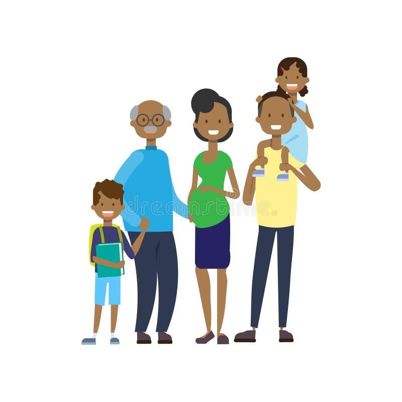 非洲祖父母做父母儿童孙,多一代家庭,白色背景的全长具体化 皇族释放例证