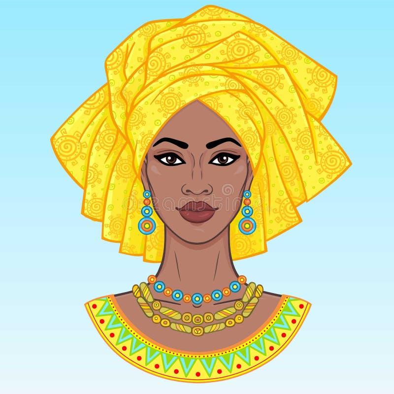 非洲秀丽 年轻黑人妇女的动画画象头巾的 向量例证