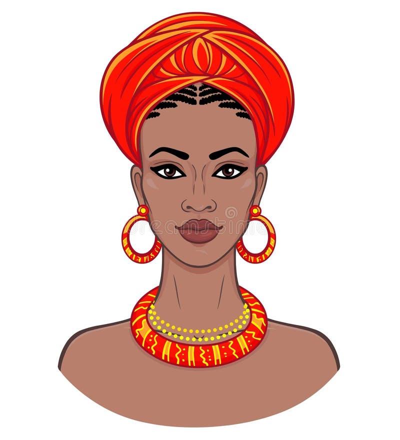 非洲秀丽 年轻黑人妇女的动画画象头巾的 皇族释放例证