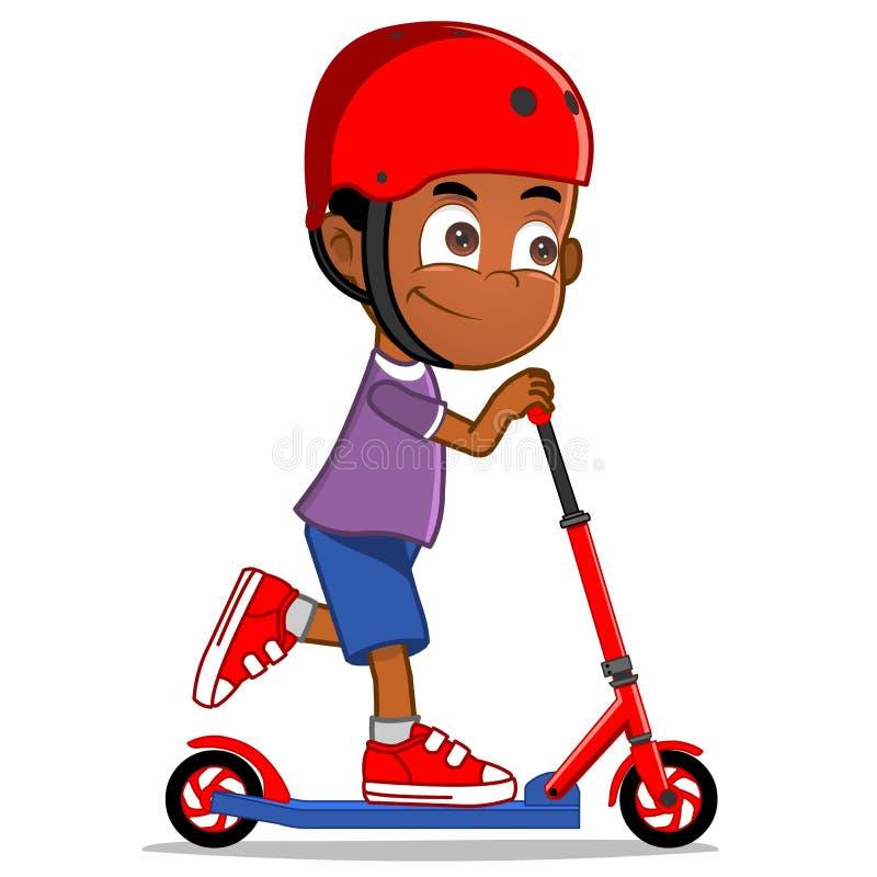 非洲种族男孩骑马滑行车 图库摄影
