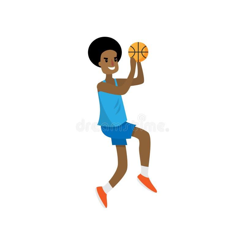 非洲篮球运动员设法跳到高篮子 皇族释放例证