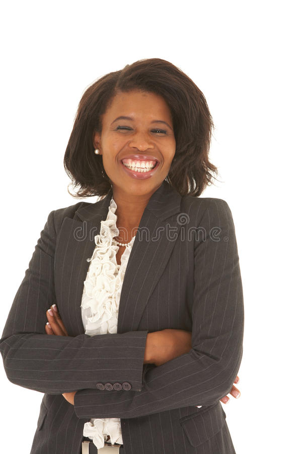 非洲美丽的女实业家 免版税库存图片