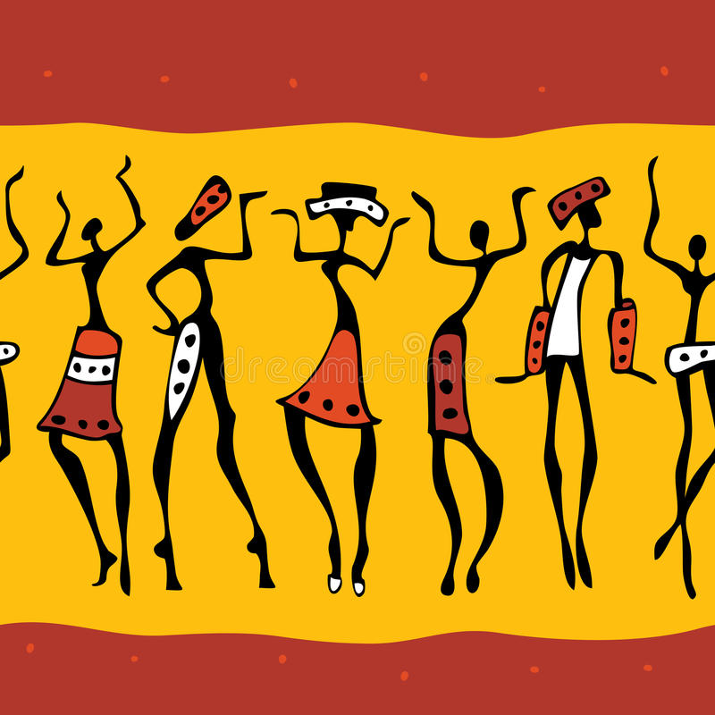 非洲舞蹈演员剪影。 皇族释放例证