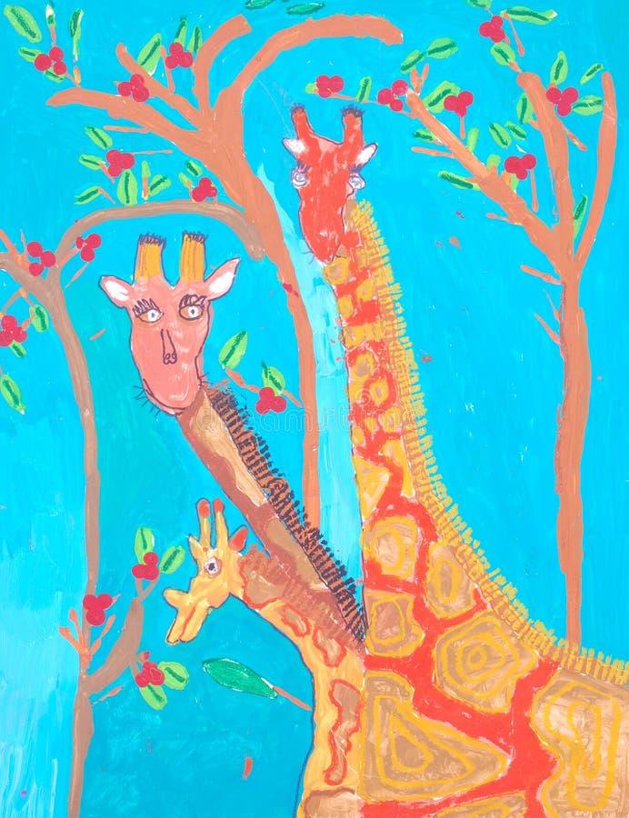 非洲艺术儿童绘画 库存例证