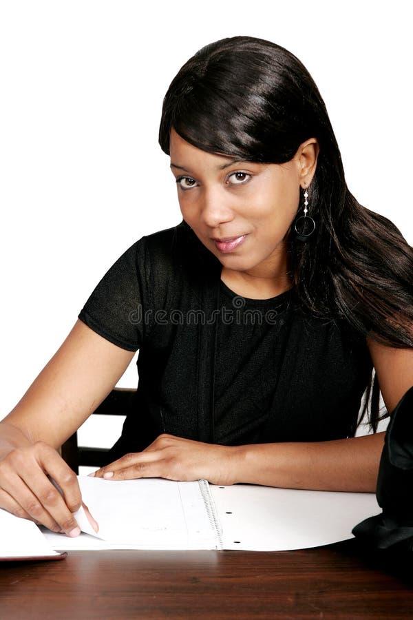 非洲裔美国人女孩学习 免版税库存图片