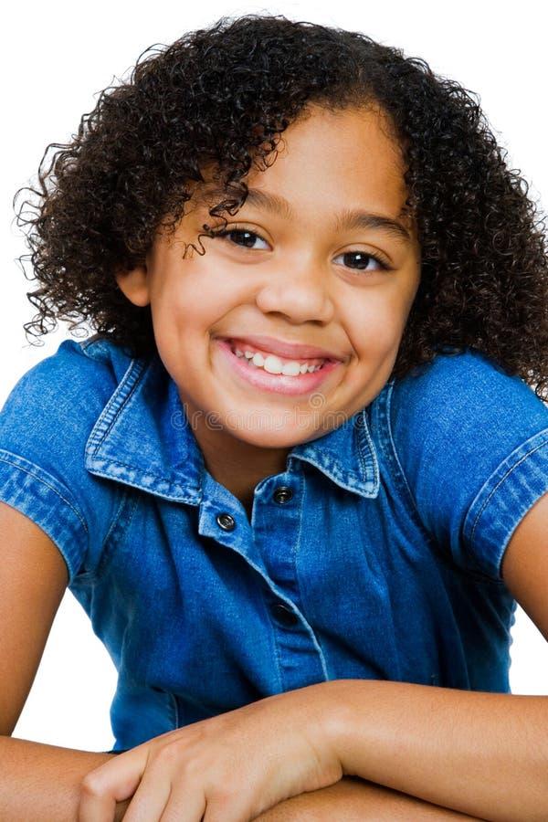 非洲裔美国人女孩摆在 免版税图库摄影
