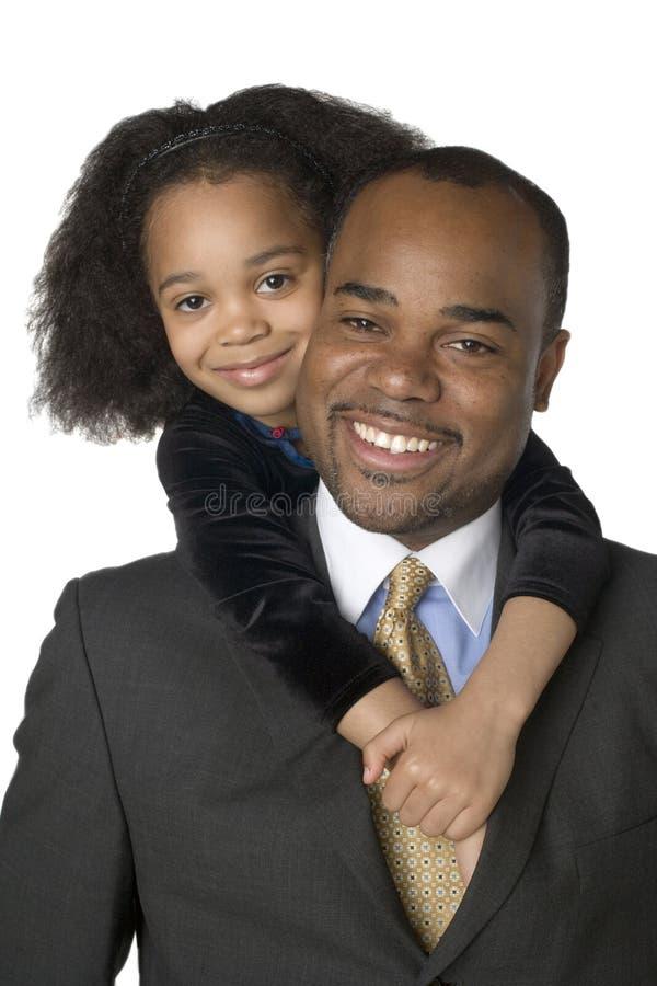 非洲裔美国人的女儿父亲 库存图片