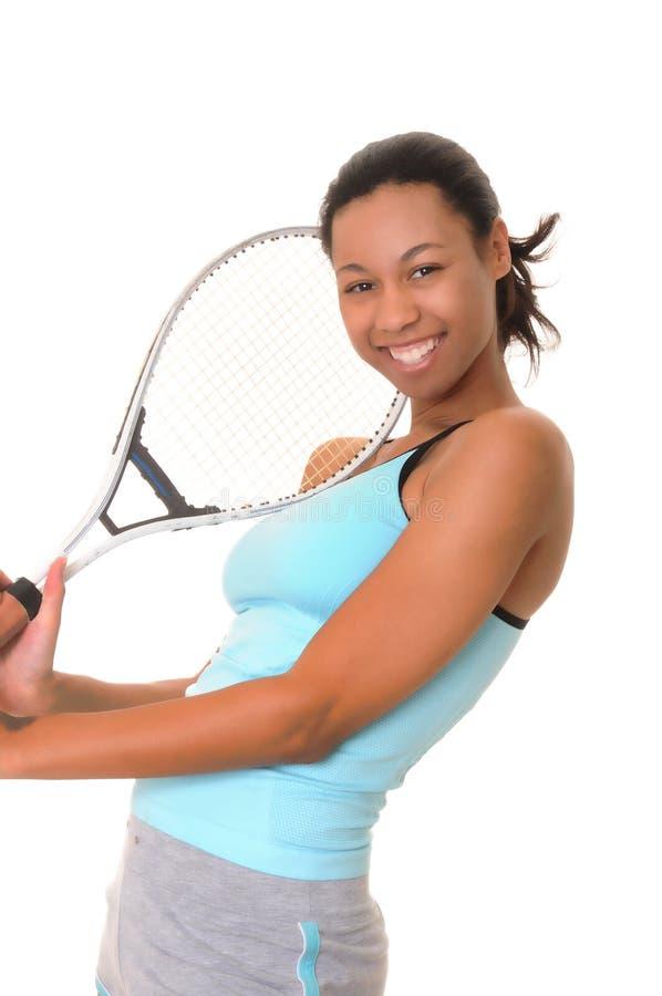 非洲裔美国人的女孩网球 库存图片