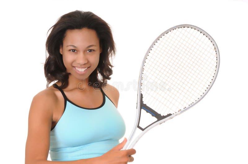 非洲裔美国人的女孩网球 免版税库存图片