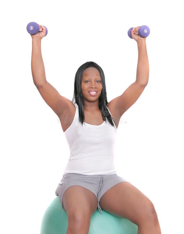 非洲裔美国人的妇女锻炼 免版税库存照片