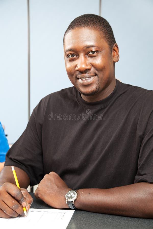 非洲裔美国人的学院英俊的学员 库存图片