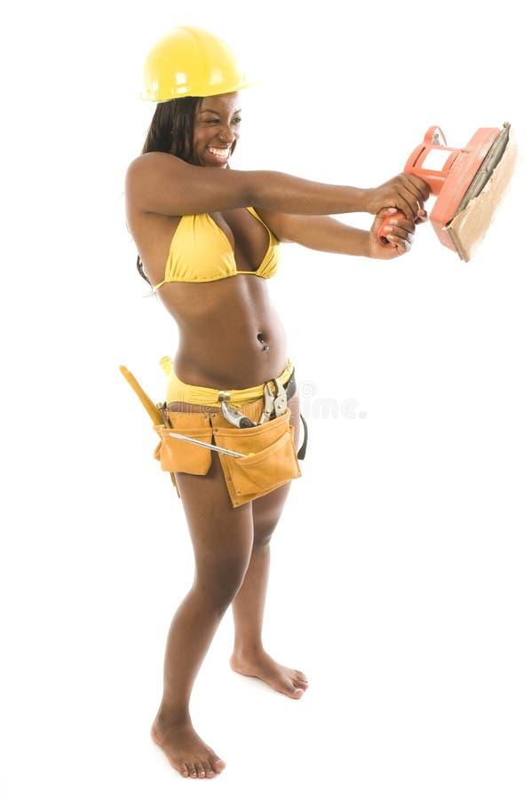 非洲裔美国人的比基尼泳装承包商讲&# 免版税图库摄影