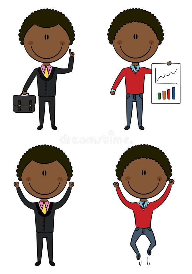 非洲裔美国人的生意人逗人喜爱滑稽 皇族释放例证