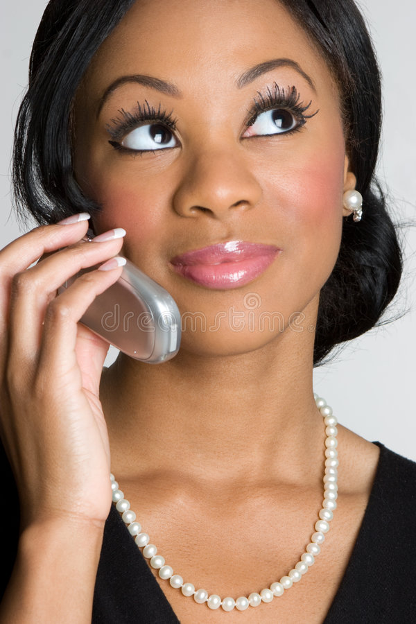 非洲裔美国人的电话妇女 库存照片