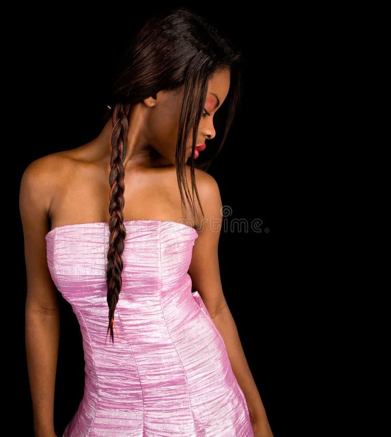 非洲裔美国人的美丽的夫人 免版税库存照片