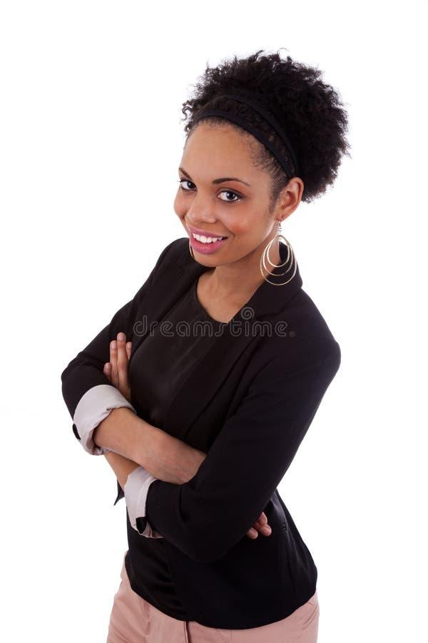 非洲裔美国人的胳膊被折叠的微笑的&# 库存图片