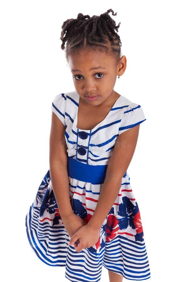 非洲裔美国人的逗人喜爱的女孩少许纵向 库存照片
