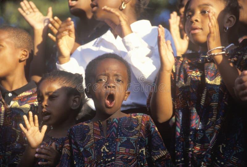 非洲裔美国人的青年唱诗班, 库存图片