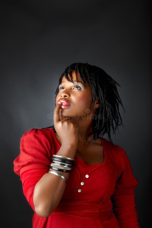 非洲认为的妇女 免版税库存图片