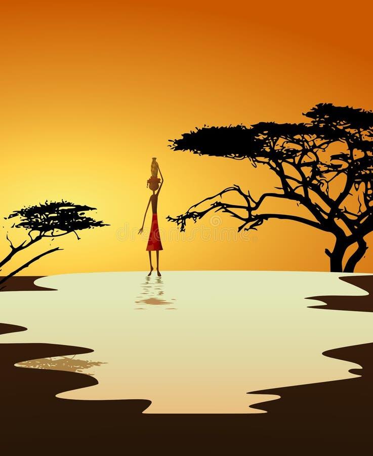 非洲运载的女孩水