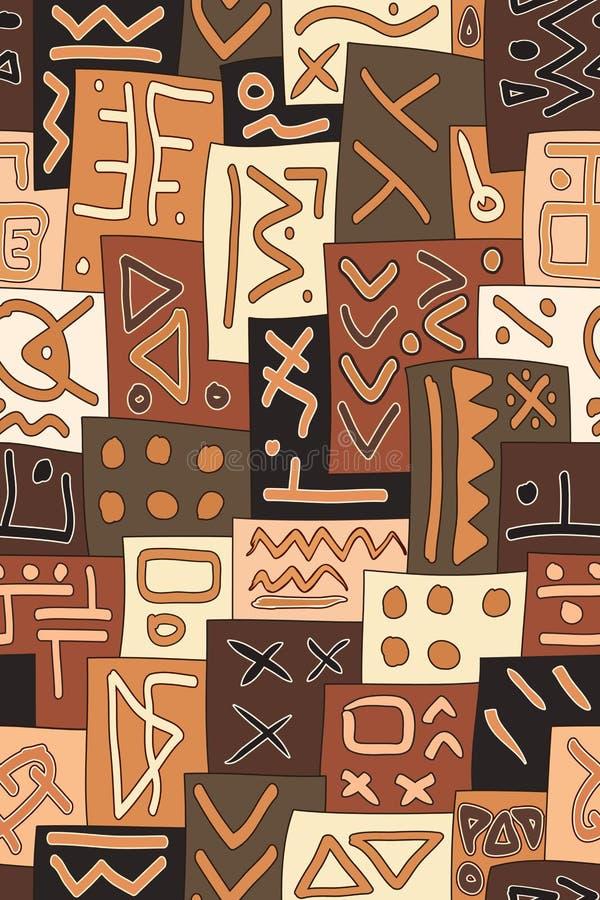 非洲部族无缝的传染媒介样式 抽象手拉的Ethn 向量例证