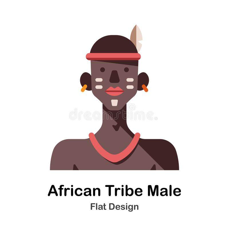 非洲部落男性平的象 库存例证