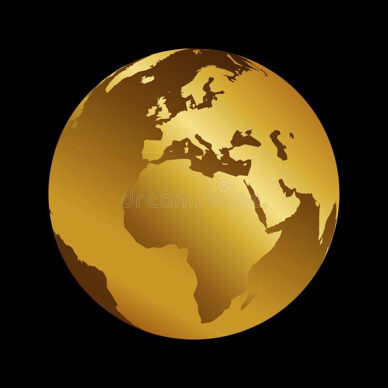 非洲金黄3d金属行星背景视图 世界地图在黑背景的传染媒介例证 向量例证