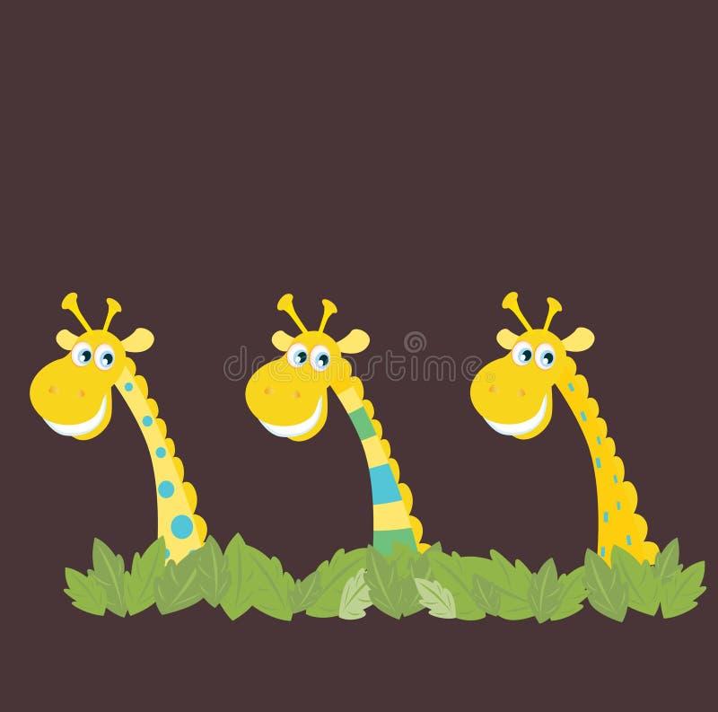 非洲长颈鹿徒步旅行队三 库存例证