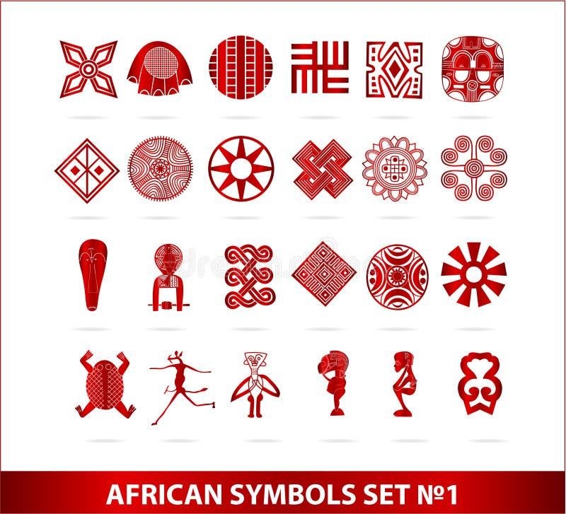 非洲颜色查出的红色集合符号 库存例证