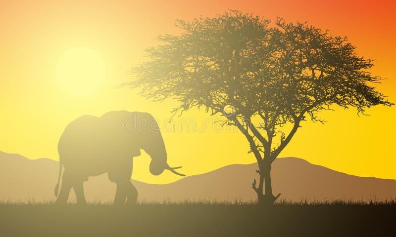 非洲风景的现实例证与徒步旅行队、树和大象的在与朝阳的橙色天空下 阳光和光束 库存例证
