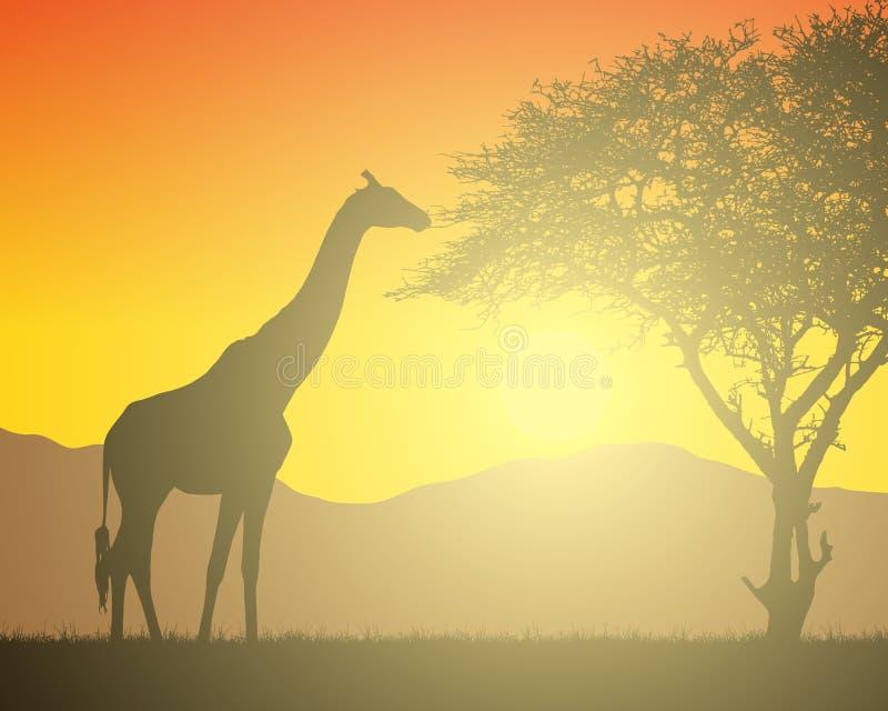 非洲风景的现实例证与徒步旅行队、树和长颈鹿的在与朝阳的橙色天空下 在的山 向量例证