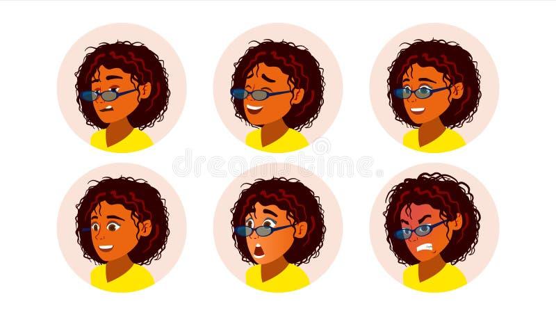 非洲黑人妇女具体化传染媒介 非裔美国人的妇女面孔,被设置的情感 字符商人 动画片 向量例证