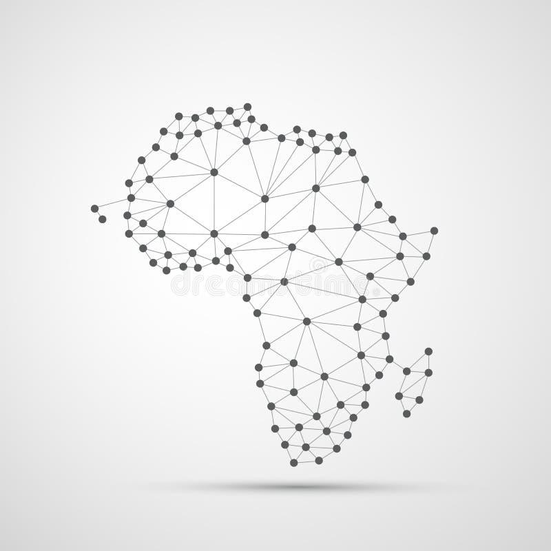 非洲,数字网连接,技术背景,创造性的设计模板的透明抽象多角形地图 皇族释放例证