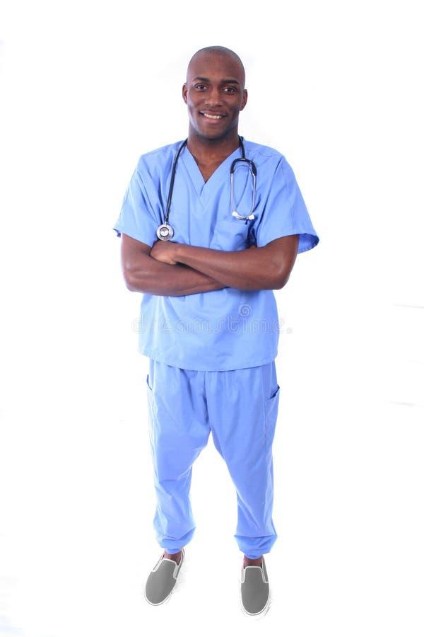 非洲amrican男性护士 免版税库存照片