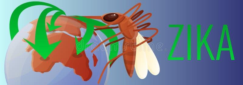 非洲zika病毒概念横幅,动画片样式 库存例证