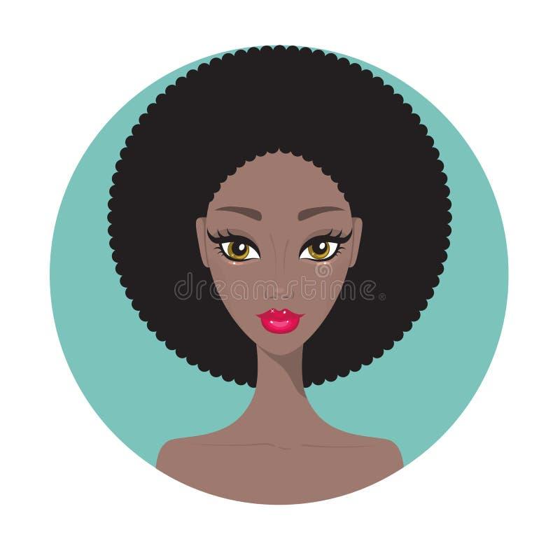 年轻非裔美国人的与完善的构成的妇女美丽的女孩画象 向量例证