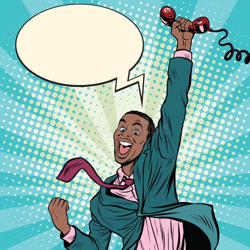 非裔美国人的人激动电话幸福 向量例证