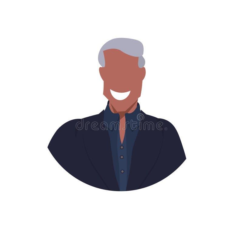 非裔美国人的人面孔具体化愉快的商人男性卡通人物画象平的白色背景 库存例证