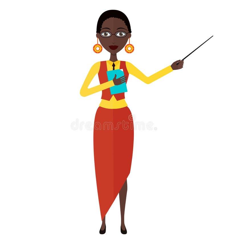 非裔美国人的在白色背景隔绝的动画妇女女孩老师家庭教师字符平的动画片传染媒介例证 库存例证