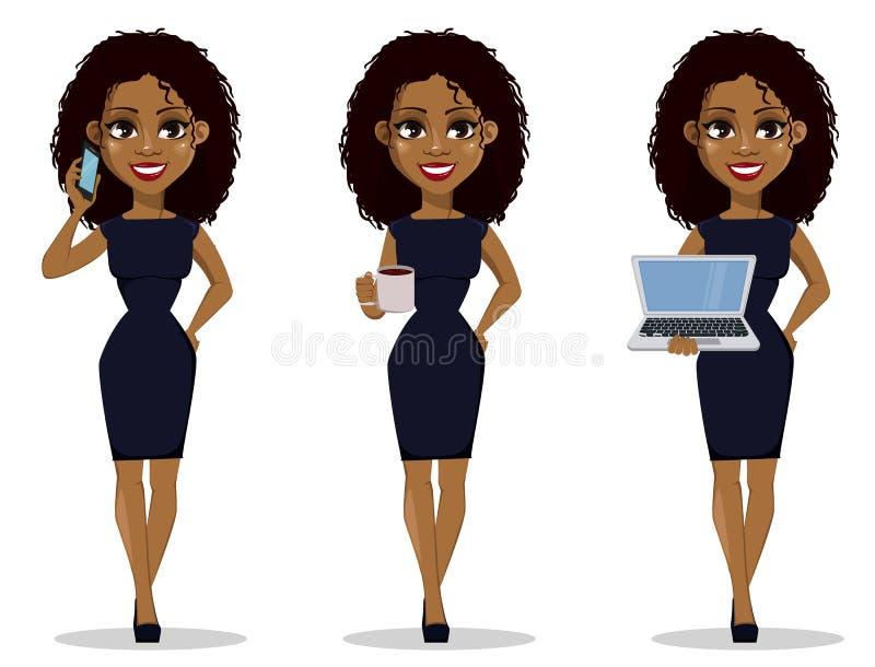非裔美国人的女商人漫画人物,集合 库存例证