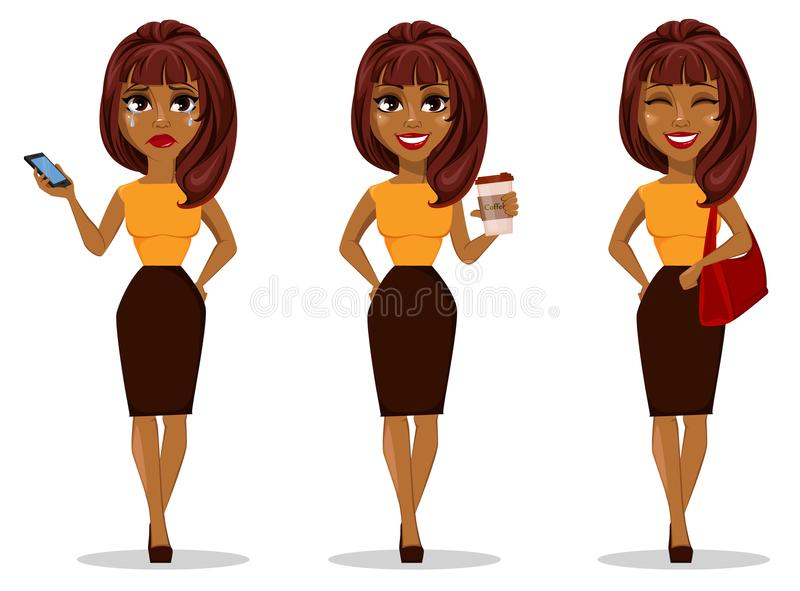 非裔美国人的女商人漫画人物 向量例证