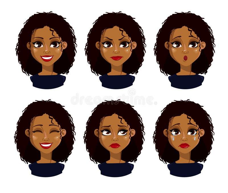 非裔美国人的女商人漫画人物 库存例证