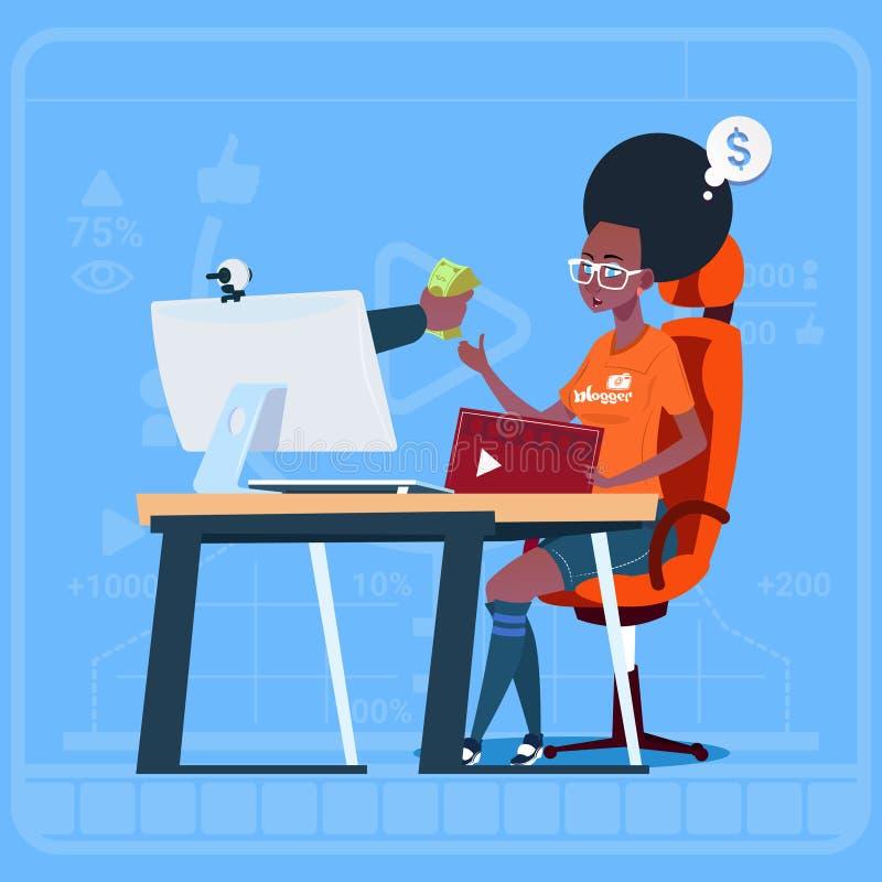 非裔美国人的女孩博客作者坐在放出录影博克的计算机赢得金钱创作者普遍的Vlog海峡 库存例证