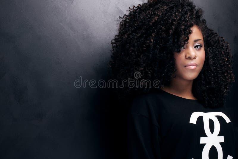年轻非裔美国人的女孩秀丽画象  库存照片